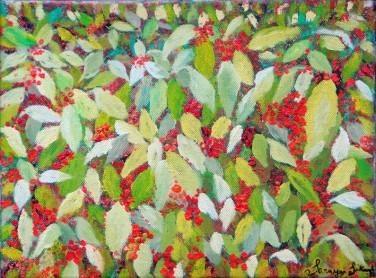 'Bush with red berries' oil on canvas, 12 by 14 inches, 2010 (sold)