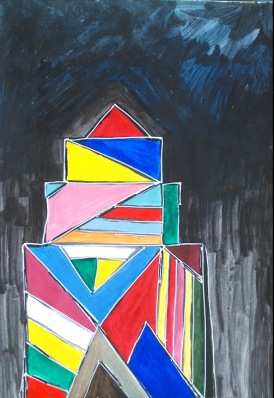 'Building' acrylic on paper, 16 by 20 inches, 2012 (sold)