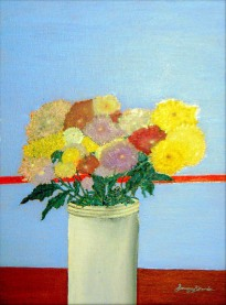 'Still life in blue with spring flowers' oil on canvas, 16 by 30 inches, 2010 (sold)