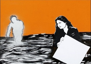 'Self portrait' mixed media on paper, 20 by 40 inches, 2011 (sold)