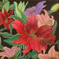 'Lilies' oil on canvas, 20 by 20 inches, 2010 (sold)