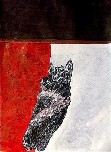 'Creature head' ink and gouache on paper, 20 by 40 inches, 2011 (sold)