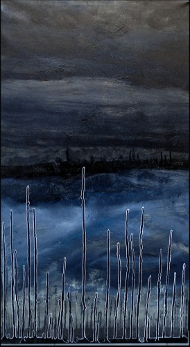 'Karachi cityscape' oil on canvas, 20 by 40 inches, 2014 (sold)