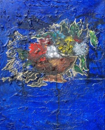 'Composition in blue' oil on canvas, 22 by 28 inches, 2014 (sold)