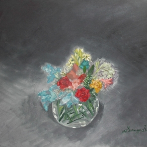 'Composition in gray l' oil on canvas, 24 by 24 inches, 2011 (sold)