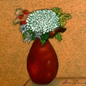'Red vase l' oil on canvas, 24 by 24 inches, 2012 (sold)