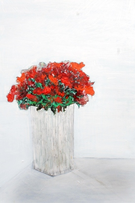 'Red flowers' oil on canvas, 24 by 36 inches, 2014 (sold)