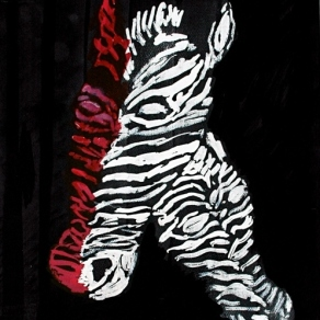 'Zebras' ink on paper, 28 by 20 inches, 2011 (sold)