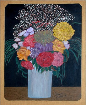 'Floral still life' oil on canvas, 34 by 38 inches, 2011 (sold)
