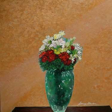 'Red and gold ll' oil on canvas, 30 by 30 inches, 2011 (sold)