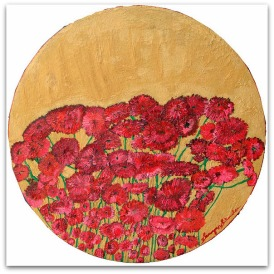 'Red and gold l' oil on canvas, 38 by 38 inches, 2011 (sold)