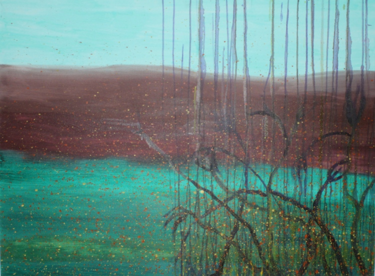 'Mountain' oil and acrylic on canvas, 36 by 48 inches, 2014 (sold)