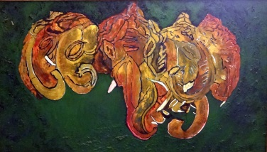 'Ganesha ll' ink and gouache on paper, 42 by 42 inches, 2011 (sold)