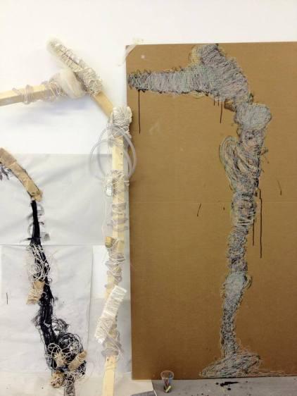 'Creature' mixed media studies on paper