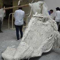 'Bride' sculpture. Materials: Wood, plaster, foam, fabric