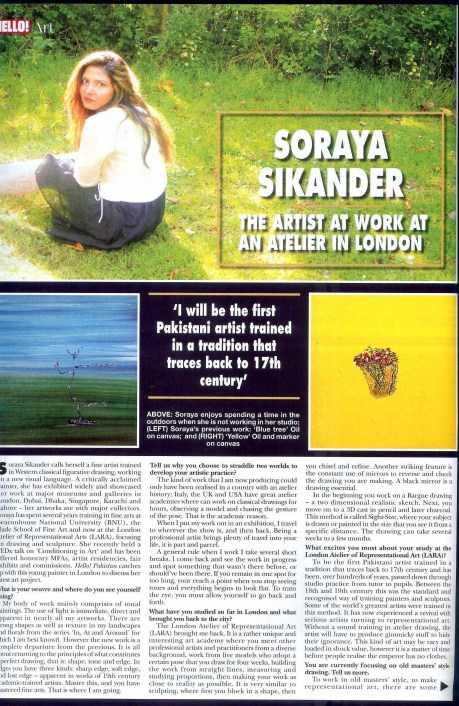 soraya sikander HELLO! interview page1